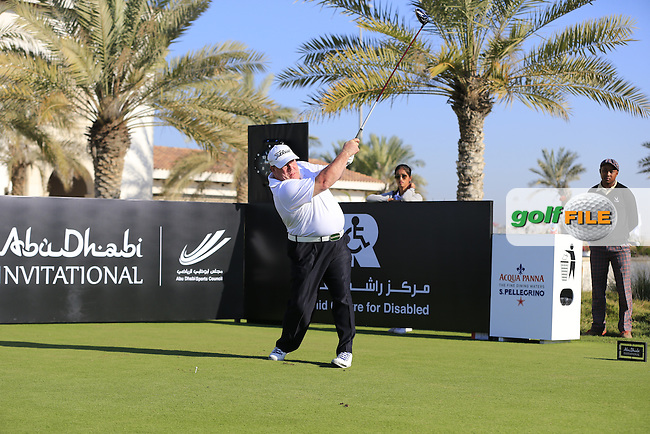 Billy Dewsall tees off the 10th tee to start his match during the 2015 Abu Dhabi Invitational Am-Am event held at Yas Links Golf Course, Abu Dhabi.: Picture Eoin Clarke, www.golffile.ie: 1/26/2015