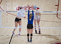STANFORD, CA - December 1, 2017: Audriana Fitzmorris, Meghan McClure at Maples Pavilion. The Stanford Cardinal defeated the CSU Bakersfield Roadrunners 3-0 in the first round of the NCAA tournament.