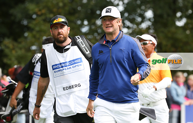 Black Mountain Golf Club players Thongchai JAIDEE (THA) and Pelle Edberg (SWE) are the final pairing on the first tee during the Final Round of the Porsche European Open 2015 played at Golf Resort Bad Griesbach, Bad Griesbach, Germany.  27/09/2015. Picture: Golffile | David Lloyd<br /> <br /> All photos usage must carry mandatory copyright credit (&copy; Golffile | David Lloyd)