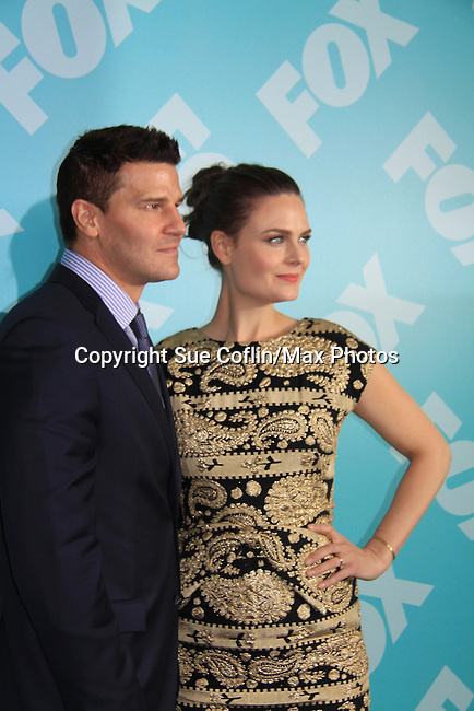 Emily Deschanel & David Boreanaz - Bones - at the 2013 Fox Upfront Post Party on May 13, 2013 at Wolman Rink, Central Park, New York City, New York. (Photo by Sue Coflin/Max Photos)