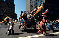 (950422-SWR07.jpg) 22 April 1995 - New York, NY -- Earth Day New York City. Parade of the Planets. Environmentalists dressed as colorful flowers and mythical figures  march up the Avenue of the Americas.