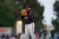 Lake Elsinore Storm starting pitcher Pedro Avila (14) prepares to deliver a pitch during a California League game against the Rancho Cucamonga Quakes at LoanMart Field on May 19, 2018 in Rancho Cucamonga, California. Lake Elsinore defeated Rancho Cucamonga 10-7. (Zachary Lucy/Four Seam Images)