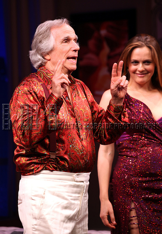 Henry Winkler & Alicia Silverstone during the Broadway Opening Night Performance Curtain Call for 'The Performers' at the Longacre Theatre in New York City on 11/14/2012