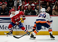 WASHINGTON, DC - JANUARY 31: Brock Nelson #29 of the New York islanders defends against Nick Jensen #3 of the Washington Capitals during a game between New York Islanders and Washington Capitals at Capital One Arena on January 31, 2020 in Washington, DC.
