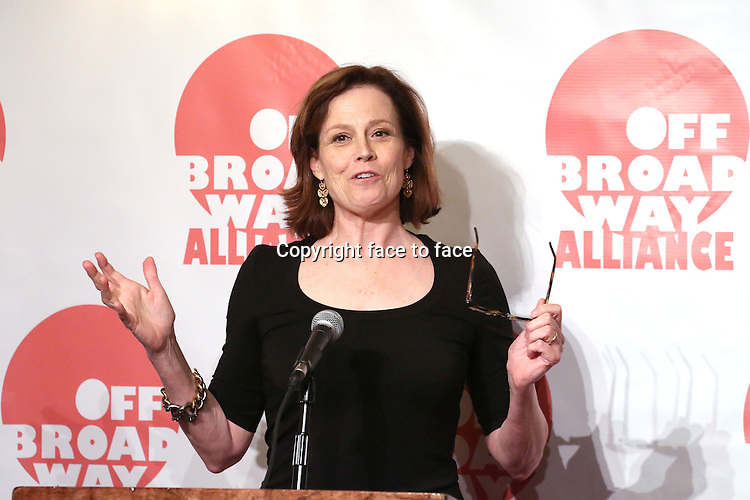 Sigourney Weaver attending The 3rd Annual Off Broadway Alliance Awards Reception at Sardi's Restaurant in New York City on June 18, 2013<br />