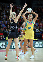 15.10.2016 Silver Ferns Katrina Grant and Australia's Gretal Tippett in action during the Silver Ferns v Australia netball test match played at Vector Arena in Auckland. Mandatory Photo Credit ©Michael Bradley.