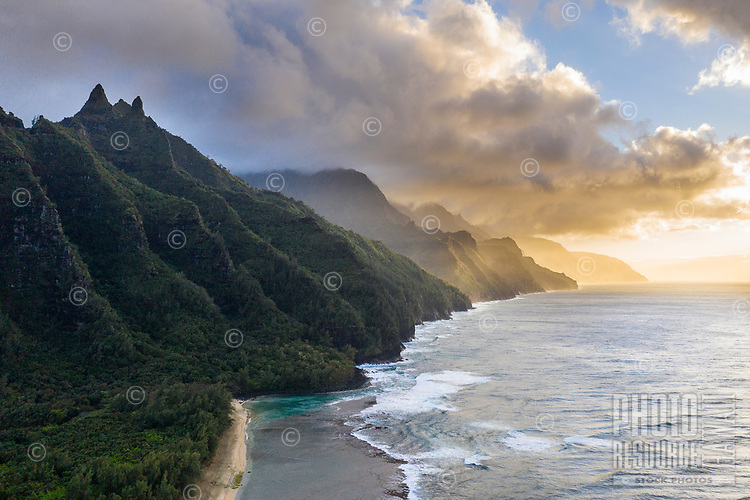 An aerial view of sunset on Na Pali coastline, Kaua'i.