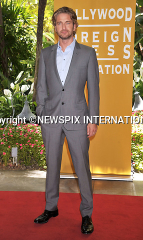 "GERARD BUTLER.attends The Hollywood Foreign Press Association's annual luncheon announcing its new officers and directors and presenting grants to non-profit entertainment related organizations and scholarship programs held at the Beverly Hills Hotel, Beverly Hills, Los Angeles_04/08/2011.Mandatory Photo Credit: ©Crosby/Newspix International. .**ALL FEES PAYABLE TO: ""NEWSPIX INTERNATIONAL""**..PHOTO CREDIT MANDATORY!!: NEWSPIX INTERNATIONAL(Failure to credit will incur a surcharge of 100% of reproduction fees).IMMEDIATE CONFIRMATION OF USAGE REQUIRED:.Newspix International, 31 Chinnery Hill, Bishop's Stortford, ENGLAND CM23 3PS.Tel:+441279 324672  ; Fax: +441279656877.Mobile:  0777568 1153.e-mail: info@newspixinternational.co.uk"