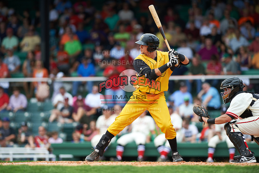 Jacksonville Suns first baseman Viosergy Rosa (44) at bat during the 20th Annual Rickwood Classic Game against the Birmingham Barons on May 27, 2015 at Rickwood Field in Birmingham, Alabama.  Jacksonville defeated Birmingham by the score of 8-2 at the countries oldest ballpark, Rickwood opened in 1910 and has been most notably the home of the Birmingham Barons of the Southern League and Birmingham Black Barons of the Negro League.  (Mike Janes/Four Seam Images)