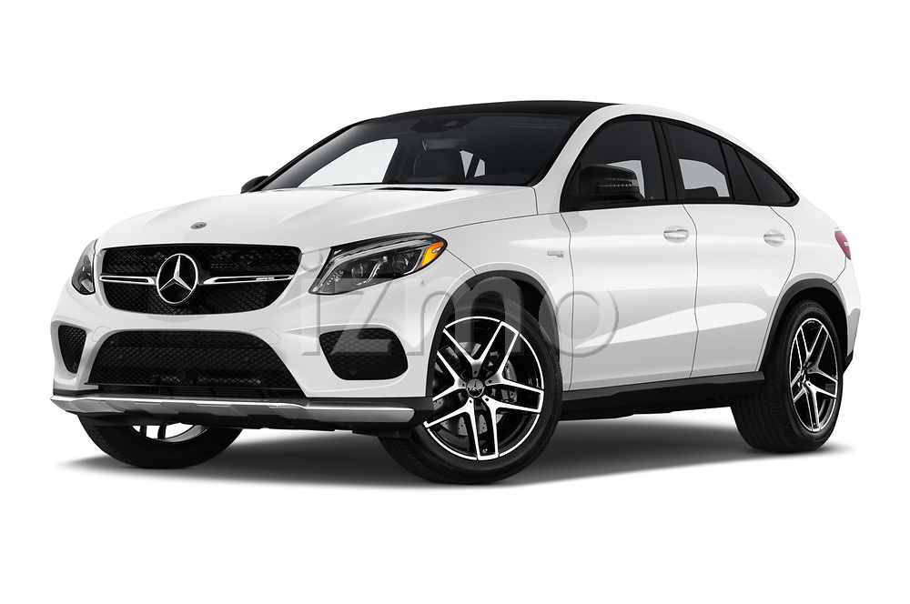 Stock pictures of low aggressive front three quarter view of a 2019 Mercedes Benz GLE Coupe AMG GLE43 5 Door SUV