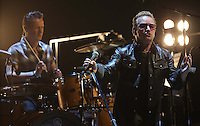 The rock band U2 during their world tour Innocence + Experience 2015 in the Airways Center in Phoenix, AZ. on May 22.<br />