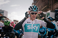Chris Froome (GBR/SKY) relaxed on the start line<br /> <br /> Stage 6: Barrow-in-Furness to Whinlatter Pass   (168km)<br /> 15th Ovo Energy Tour of Britain 2018