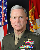 Official portrait, uncovered, of the 35th Commandant of the Marine Corps, General James F. Amos. General Amos is the first aviator in Marine Corps history to be selected for the post, and the first assistant commandant to be promoted to the position in more than 20 years..On October 22, 2010 General James F. Amos assumed the duties of Commandant of the Marine Corps. A graduate of the University of Idaho, General Amos has held command at all levels from Lieutenant Colonel to Lieutenant General.   General Amos' command tours have included: Marine Wing Support Squadron 173 from 1985-1986; Marine Fighter Attack Squadron 312 – attached to Carrier Air Wing 8 onboard USS Theodore Roosevelt (CVN-71) – from 1991-1993; Marine Aircraft Group 31 from 1996-1998; 3rd Marine Aircraft Wing in combat during Operations IRAQI FREEDOM I and II from 2002-2004; II Marine Expeditionary Force from 2004-2006; and Commanding General, Marine Corps Combat Development Command and Deputy Commandant, Combat Development and Integration from 2006 to 2008. Additional operational tours have included Marine Fighter Attack Squadrons 212, 235, 232, and 122. General Amos' staff assignments include tours with Marine Aircraft Groups 15 and 31, the III Marine Amphibious Force, Training Squadron Seven, The Basic School, and with the MAGTF Staff Training Program. Additionally, he was assigned to NATO as Deputy Commander, Naval Striking Forces, Southern Europe, Naples Italy where he commanded NATO's Kosovo Verification Center, and later served as Chief of Staff, U.S. Joint Task Force Noble Anvil during the air campaign over Serbia. Transferred in 2000 to the Pentagon, he was assigned as Assistant Deputy Commandant for Aviation. Reassigned in December 2001, General Amos served as the Assistant Deputy Commandant for Plans, Policies and Operations, Headquarters, Marine Corps. From 2008-2010 General Amos served as the 31st Assistant Commandant of the Marine Corps..Mandatory Credit: Alvin Williams / U.S.