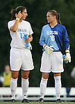 07 September 2007: North Carolina's Yael Averbuch (17) and Ashlyn Harris (18). The University of North Carolina Tar Heels defeated the Texas A&M University Aggies 2-1 at Fetzer Field in Chapel Hill, North Carolina in an NCAA Division I Women's Soccer game, and part of the annual Nike Carolina Classic tournament.