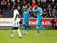 SWANSEA, WALES - FEBRUARY 07: Jermaine Defoe of Sunderland (C) celebrates his opening goal with team mate Ricky Alvarez (R) during the Premier League match between Swansea City and Sunderland AFC at Liberty Stadium on February 7, 2015 in Swansea, Wales.