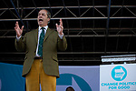 Nigel Farage MEP speaking on stage at a Brexit Party event in Chester, Cheshire. Mr Farage gave the keynote speech and was joined on the platform by his party colleague Ann Widdecombe, the former Conservative government minister. The event was attended by around 300 people and was one of the first since the formation of the Brexit Party by Nigel Farage in Spring 2019.