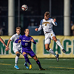 5 October 2019: University at Albany Great Dane Defender Kaio DaSilva, a Junior from White Plains, NY, watches a header come off University of Vermont Catamount Defender Arnar Steinn Hansson, a Senior from Garðabær, Iceland, at Virtue Field in Burlington, Vermont. The Catamounts fell to the visiting Danes 3-1 in America East, Division 1 play. Mandatory Credit: Ed Wolfstein Photo *** RAW (NEF) Image File Available ***