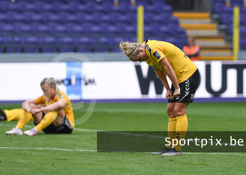20190810 - ANDERLECHT, BELGIUM : LSK's Elise Thorsnes (r) pictured looking dejected and disappointed after losing the female soccer game between the Belgian RSCA Ladies – Royal Sporting Club Anderlecht Dames  and the Norwegian LSK Kvinner Fotballklubb ladies , the second game for both teams in the Uefa Womens Champions League Qualifying round in group 8 , saturday 10 th August 2019 at the Lotto Park Stadium in Anderlecht  , Belgium  .  PHOTO SPORTPIX.BE for NTB NO | DAVID CATRY