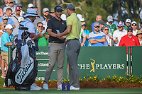 Adam Scott (AUS) shakes hands with Martin Kaymer (GER) before round 1 of The Players Championship, TPC Sawgrass, at Ponte Vedra, Florida, USA. 5/10/2018.<br /> Picture: Golffile | Ken Murray<br /> <br /> <br /> All photo usage must carry mandatory copyright credit (&copy; Golffile | Ken Murray)