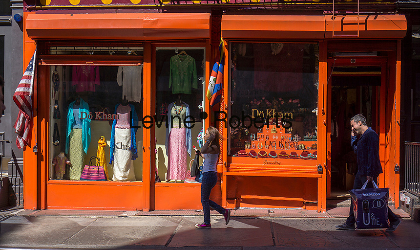 Tibetan merchandise store on Prince Street in the trendy Nolita neighborhood in New York on Saturday, May 4, 2013.  (© Richard B. Levine)