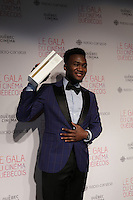 Irdens Exantus, winner best supporting actor for Guibord s'en va-t-en guerre, <br /> at the Gala du cinema Quebecois, March 20, 2016<br /> <br /> Photo : Pierre Roussel - Agence Quebec Presse