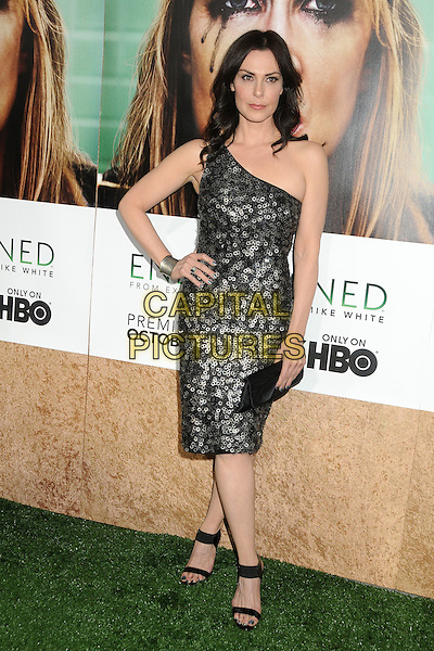 """Michelle Forbes.HBO's """"Enlightened"""" Los Angeles Premiere held at Paramount Studios, Los Angeles, California, USA. .October 6th, 2011.full length black silver sequins sequined one shoulder dress clutch bag circles discs hand on hip.CAP/ADM/BP.©Byron Purvis/AdMedia/Capital Pictures."""