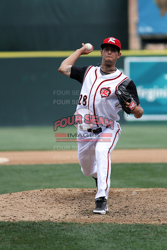 Richmond Flying Squirrels relief pitcher Jake Dunning #28 on the mound during a game against the Trenton Thunder at The Diamond on May 27, 2012 in Richmond, Virginia. Richmond defeated Trenton by the score of 5-2. (Robert Gurganus/Four Seam Images)
