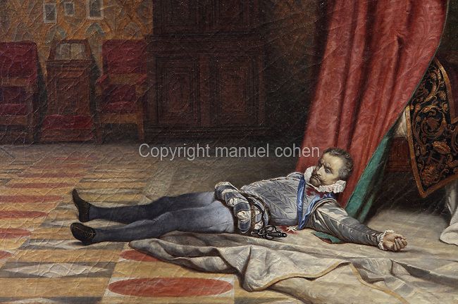 Body of the Duc de Guise, detail from The Assassination of the Duc de Guise, oil painting on canvas, 1834, by Paul Delaroche, 1797-1856, and studio, in the Salle du Conseil or Council Room, the site of the assassination of the Duc de Guise in 1588, on the second floor of the Francois I wing, built early 16th century in Italian Renaissance style, at the Chateau Royal de Blois, built 13th - 17th century in Blois in the Loire Valley, Loir-et-Cher, Centre, France. The murder is retold in several 19th century paintings hung in the room. The chateau has 564 rooms and 75 staircases and is listed as a historic monument and UNESCO World Heritage Site. Picture by Manuel Cohen