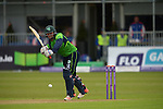 Gary Wilson batting for Ireland as the rain drops start to fall at the Ireland v England One Day Cricket International held at Malahide Cricket Club, Dublin, Ireland. 8th May 2015.<br /> Photo: Joe Curtis/www.newsfile.ie