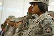 November 5, 2011  (Landover, MD)  U.S. Army Pfc. Stepter salutes during the presentation of colors at Prince George's County Veterans Stand Down and Homeless Resource Day.  The event, held at the Wayne K. Curry Sports and Learning Complex, offered a variety of services to veterans and homeless residents through government and private partnerships.   (Photo by Don Baxter/Media Images International)
