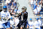 DURHAM, NC - APRIL 08: Notre Dame's Brendan Gleason (9). The Duke University Blue Devils hosted the University of Notre Dame Fighting Irish on April 8, 2017, at Koskinen Stadium in Durham, NC in a Division I College Men's Lacrosse match. Duke won the game 11-8.