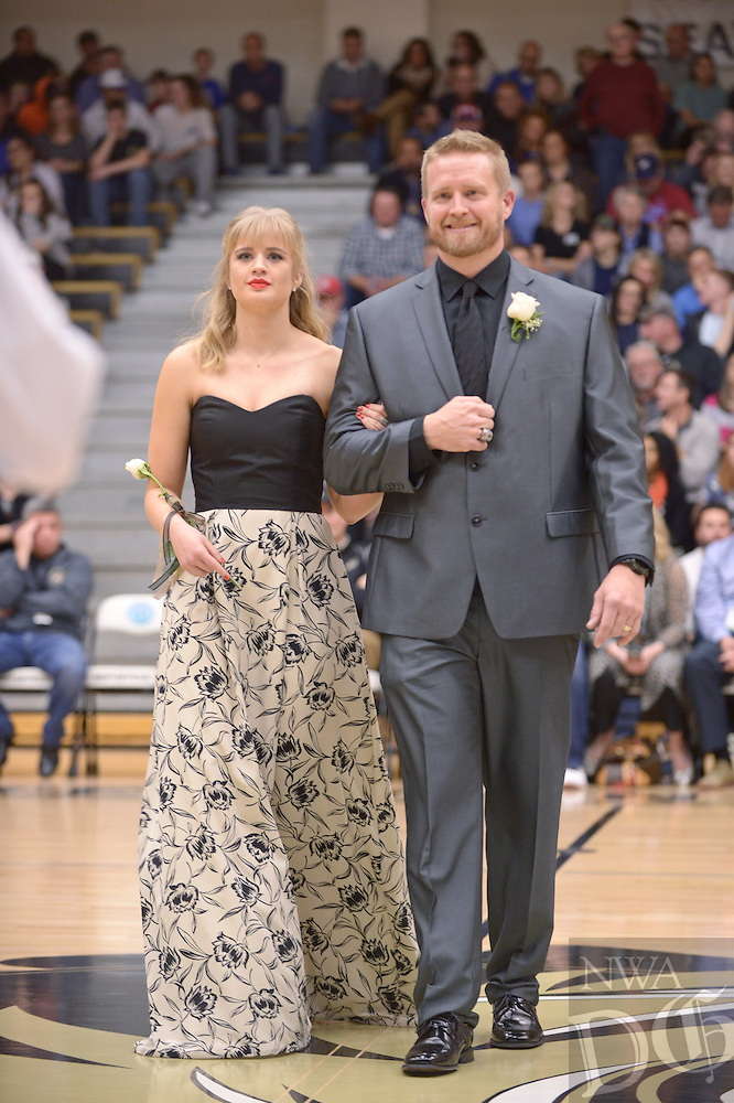 NWA Democrat-Gazette/BEN GOFF @NWABENGOFF<br /> Sydney Abbott takes the floor on Friday Jan. 15, 2016 during Bentonville High's colors day ceremony at halftime in the boys basketball game against Springdale Har-Ber in Bentonville's Tiger Arena.