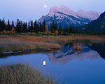 Banff National Park, Alberta, Canada    <br /> Moonrise and Mount Rundle reflected on Vermillion Lake
