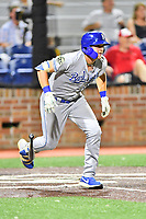 Burlington Royals Vinnie Pasquantino (33) runs to first base during game one of the Appalachian League Championship Series against the Johnson City Cardinals at TVA Credit Union Ballpark on September 2, 2019 in Johnson City, Tennessee. The Royals defeated the Cardinals 9-2 to take the series lead 1-0. (Tony Farlow/Four Seam Images)