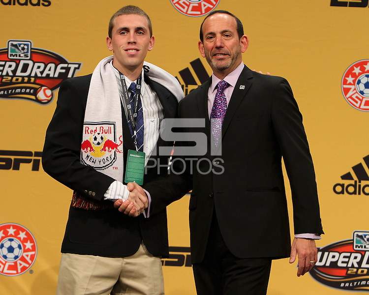 Corey Hertzog with commissioner Don Garber at the 2011 MLS Superdraft, in Baltimore, Maryland on January 13, 2010.