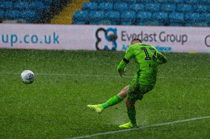 Fulham's Marek Rodak takes a goal kick in torrential rain<br /> <br /> Photographer Alex Dodd/CameraSport<br /> <br /> The EFL Sky Bet Championship - Leeds United v Fulham - Wednesday 24th June 2020 - Elland Road - Leeds<br /> <br /> World Copyright © 2020 CameraSport. All rights reserved. 43 Linden Ave. Countesthorpe. Leicester. England. LE8 5PG - Tel: +44 (0) 116 277 4147 - admin@camerasport.com - www.camerasport.com<br /> <br /> Photographer Alex Dodd/CameraSport<br /> <br /> The Premier League - Newcastle United v Aston Villa - Wednesday 24th June 2020 - St James' Park - Newcastle <br /> <br /> World Copyright © 2020 CameraSport. All rights reserved. 43 Linden Ave. Countesthorpe. Leicester. England. LE8 5PG - Tel: +44 (0) 116 277 4147 - admin@camerasport.com - www.camerasport.com