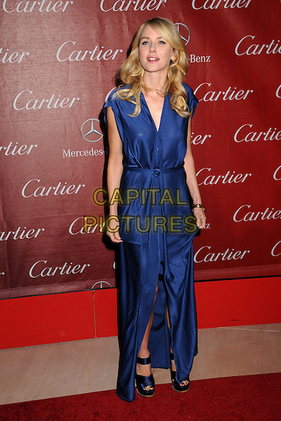 Naomi Watts.24th Annual Palm Springs International Film Festival Awards Gala held at at Palm Springs Convention Center,  Palm Springs, California, USA, .5th January 2013..full length blue dress long maxi sleeveless knotted belt draped sandals navy slit split gold ring bracelet .CAP/ADM/BP.©Byron Purvis/AdMedia/Capital Pictures.