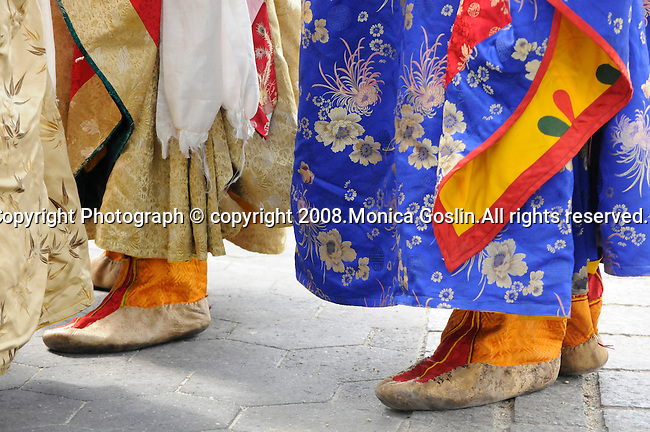 Detail of shoes of Bhutan Monks in New York City.