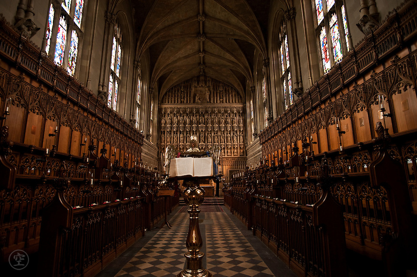 The interior of the Magdalen College Chapel, Magdalen College, Oxford, built 1474-80 on the traditional Oxford T-plan.