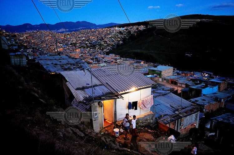 The Soacha Slum one of the largest in the capital containing almost 400,000 inhabitants, most of whom have been displaced by violence in other parts of Colombia.