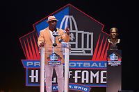 Canton, OH - August 4, 2018: Former NFL safety  Brian Dawkins delivers his Pro Football Hall of Fame enshrinement speech at the Tom Benson Hall of Fame Stadium, August 4, 2018, in Canton, Ohio. Dawkins played with the Philadelphia Eagles from 1996-2008 and the Denver Broncos from2009-2011. (Photo by Don Baxter/Media Images International)