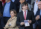 June 4th 2017, Estadi Montilivi,  Girona, Catalonia, Spain; Spanish Segunda División Football, Girona versus Zaragoza; Catalan President Carles Puigdemont and Carme Forcadell, President of Catalan Parliament; arrive to watch the game