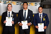 Rugby Union Boys finalists Albert Nikoro, Michael Fatialofa and Bryn Hall. ASB College Sport Young Sportsperson of the Year Awards held at Eden Park, Auckland, on November 11th 2010.