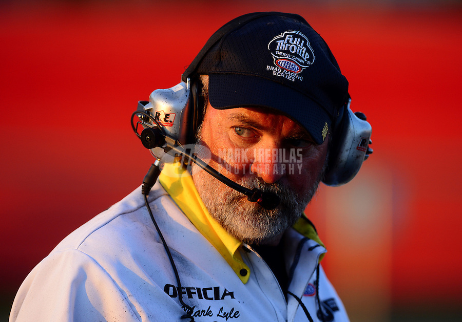 May 4, 2012; Commerce, GA, USA: NHRA head starter Mark Lyle during qualifying for the Southern Nationals at Atlanta Dragway. Mandatory Credit: Mark J. Rebilas-