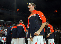 Dec. 30, 2010; Charlottesville, VA, USA; Virginia Cavaliers forward Will Sherrill (22) reacts before the start of the game against Iowa State Cyclones at the John Paul Jones Arena. Mandatory Credit: Andrew Shurtleff