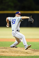 Chattanooga Lookouts pitcher Mike Thomas (49) delivers a pitch during game three of the Southern League Championship Series against the Jacksonville Suns on September 12, 2014 at Bragan Field in Jacksonville, Florida.  Jacksonville defeated Chattanooga 6-1 to sweep three games to none.  (Mike Janes/Four Seam Images)