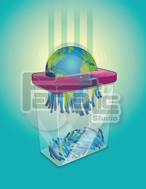 Illustrative image of shredder shredding earth over colored background representing environment degradation