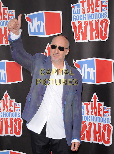 PETE TOWNSEND of The Who .attends The VH1 Rock Honors, honoring The Who held at The Pauley Pavillion at UCLA in Westwood, California, USA, July 12th 2008.                                                                     .half length blue suit jacket white shirt  beard stubble hand thumb up sunglasses.CAP/DVS.©Debbie VanStory/Capital Pictures
