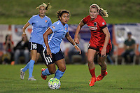 Piscataway, NJ - Sunday Sept. 25, 2016: Raquel Rodriguez, Lindsey Horan during a regular season National Women's Soccer League (NWSL) match between Sky Blue FC and the Portland Thorns FC at Yurcak Field.
