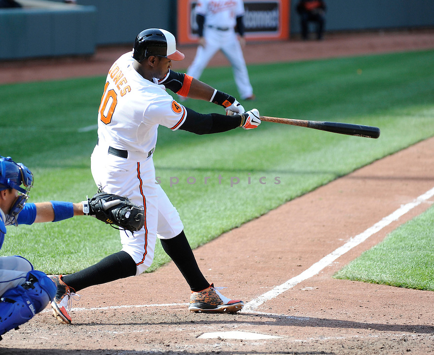 Baltimore Orioles Adam Jones (10)  during a game against the Los Angeles Dodgers on April 21, 2013 at Oriole Park in Baltimore, MD. The Dodgers beat the Orioles 7-4.